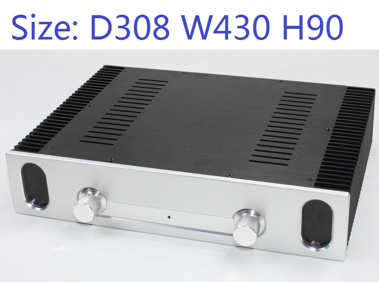Size: D308 W430 H90 DAC Amplifier Case Aluminum Chassis Power Supply DIY Case WA95 All Aluminum Class A Preamp Amplifier Chassis