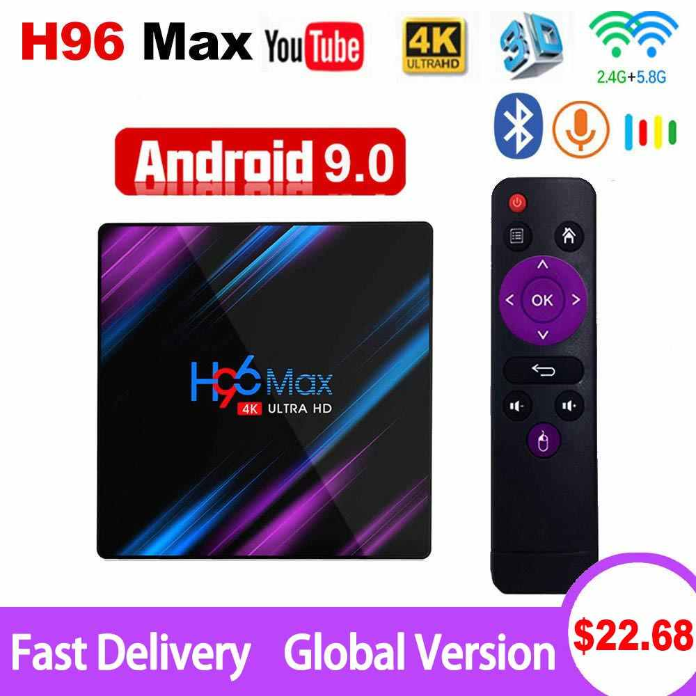 Android 9.0 TV Box H96 Max Rockchip RK3318 4K Smart TV Box 2.4G & 5G Wifi BT4.0 h96Max 4GB 64GB Media Player Android Set Top Box