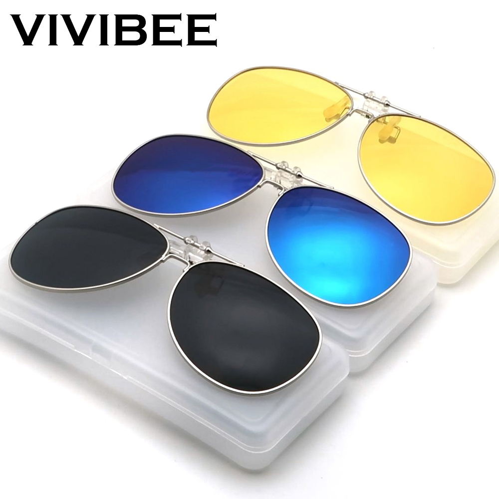 VIVIBE Oversized Pilot Flip Up Clip On Sunglasses For Driver Men Driving Alloy Frame Big Women Glasses Clips For Myopic