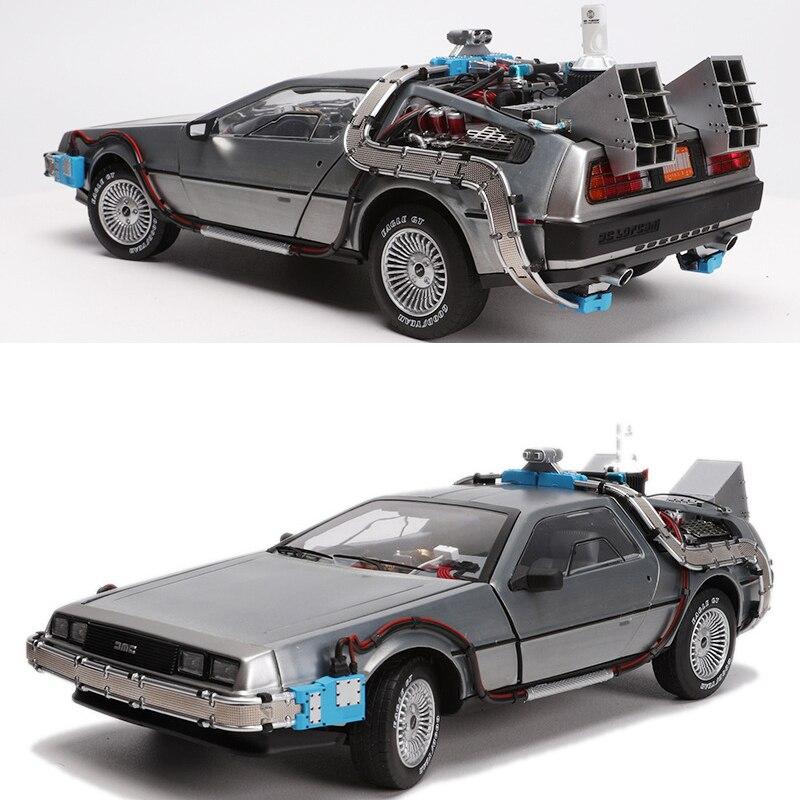 1/18 échelle métal alliage voiture moulé sous pression modèle partie 3 temps Machine DeLorean véhicule modèle jouet Welly retour à l'avenir pour ventilateur recueillir