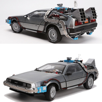 1/18 Scale Metal Alloy Car Diecast Model Part 3 Time Machine DeLorean Vehicle Model Toy Welly Back To The Future for fan collect