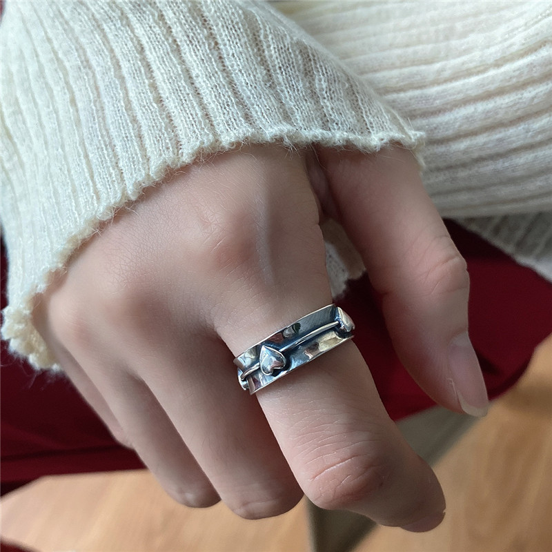 POFUNUO Genuine 925 Sterling Silver Heart Ring Minimalist Geometric Designed Do Old Ring Women Fashionable Wedding Fine Jewelry