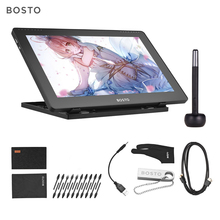 BOSTO 1920 * 1080  16HD 15.6 Inch IPS Graphics Drawing Tablet Display Monitor  8192 Pressure Level with Rechargeable Stylus Pen