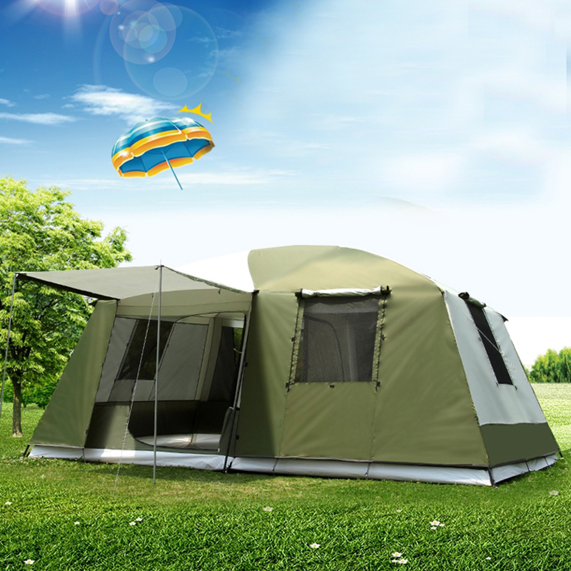 Two Rooms 6-12 Person Large Space Double Layer Waterproof Windproof Super Strong 4 Season Outdoor Camping Family Tent Carpas