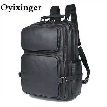 Men Black Real Leather Laptop Backpacks Large Capacity Bagpack High Quality Comouter Bags For Lenovo YOGA C940 Dell Hp Asus Sony