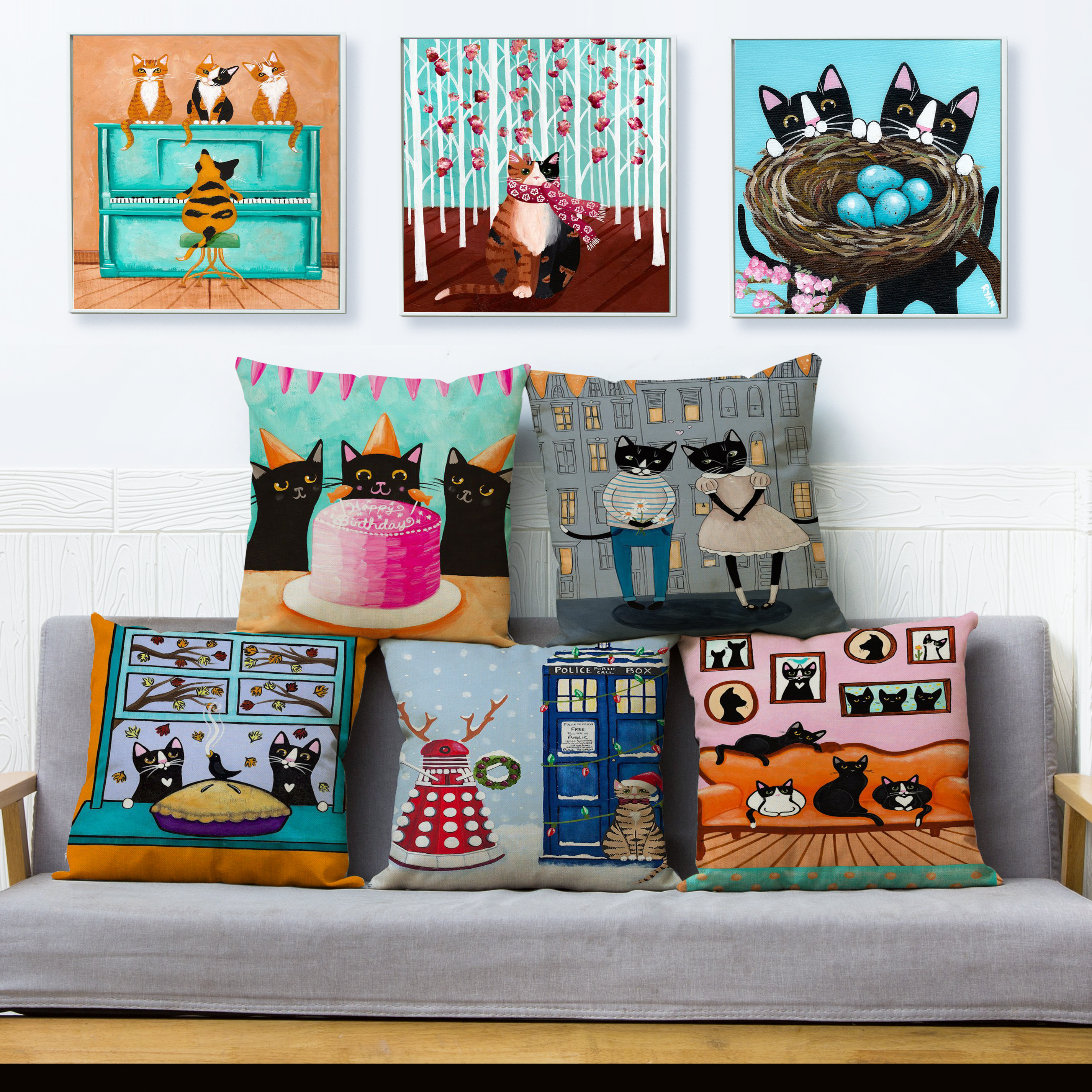 Cute Cartoon Cats Print Cushion Cover Ryan Conners Funny Cat Pillow Covers 45*45 Linen Pillows Cases Sofa Home Decor Pillow Case
