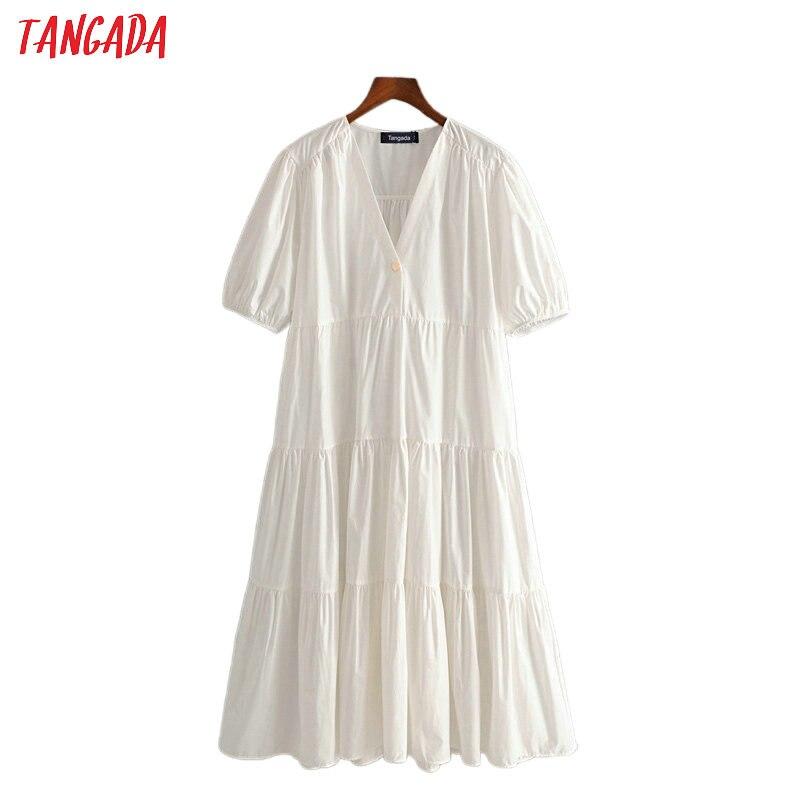 Tangada 2020 Summer Fashion Women Pleated White Cotton Dress Short Sleeve Ladies Vintage Midi Dress Vestidos 3H252