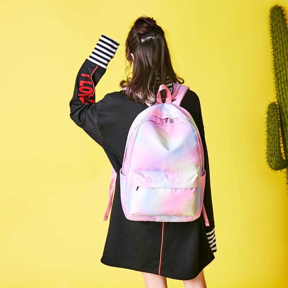 Купить радужный рюкзак женский холщовый 2020 водонепроницаемый для