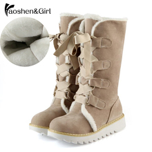 Купить с кэшбэком Haoshen&Girl Women Short Boots Winter Mid-calf Snow Boots Flat Heels Lace-up Warm Boots Women Shoes Girls Footwear Size 34-43