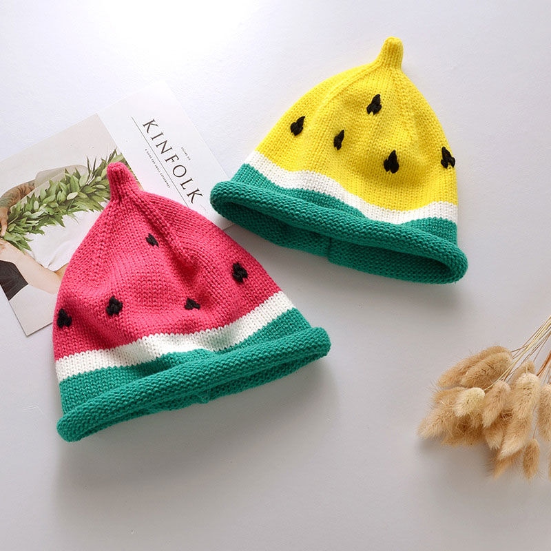 0-3year Baby hand knitted caps children lovely watermelon hat autumn winter sweater thermal cap