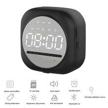 New Smart Bluetooth Speaker Mirror Dual Alarm Clock Radio LED Portable Wireless Subwoofer
