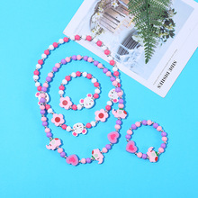 Cartoon Girls Butterfly Owl Fox Colorful Wooden Children Sweater Necklace Bracelet Kids Gifts Necklace Jewelry Wholesale