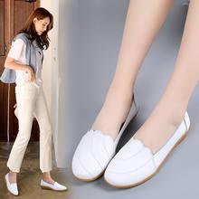 Echtem Leder Schuhe Für Frauen Weiß Faulenzer Sommer Clssic Stil 2020 Krankenschwester Schuhe Frau Leder Wohnungen