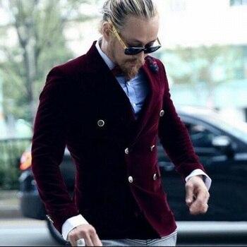 Wine Red Velvet Men's Coat Slim Fit Tuxedos Grooms Prom Party Double Breasted Tuxedo Groom Suits For Men Wedding Morning Blazer