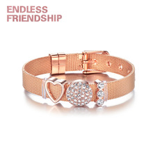 Endless Friendship New DIY Stainless Steel Rhinestone Beads Mesh Bracelet For Women Metal Wristband Adjustable Gift