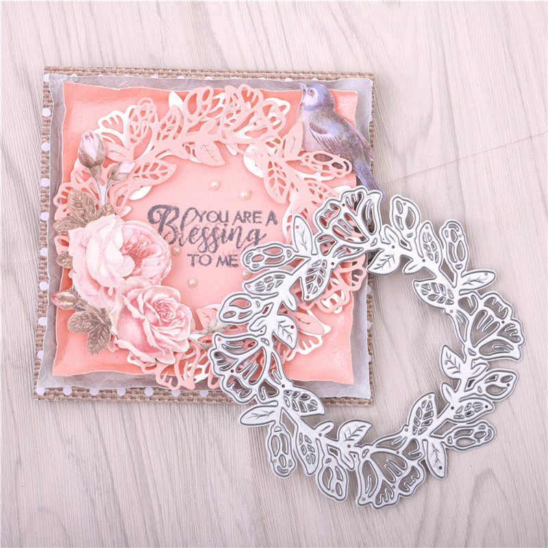 DiyArts Flower Frame Metal Cutting Dies Wreath Stencils For DIY Scrapbooking Photo Album Decorative Embossing Crafts Die Cuts