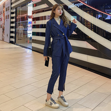 blazer autumn new casual trouser Double Breasted suit set ni