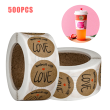 1 Inch Round Stickers Labels Handmade with LOVE for Decoration Seal Bread Bag Cake Baking Dessert Gift Tags 500pcs/roll
