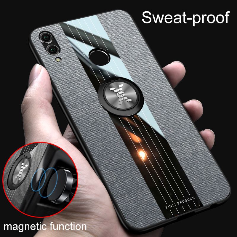MAKAVO For Huawei Honor Play Case Soft Frame Fabric Cloth Hard Cover For Huawei Honor Play Phone Case Magnetic Ring Holder