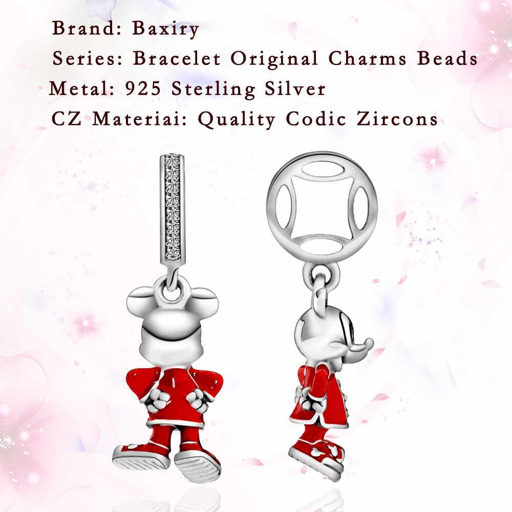 Yeni stil karikatür fare 925 ayar gümüş Fit takılar gümüş 925 orijinal bilezik göz alıcı boncuk kolye DIY takı yapımı