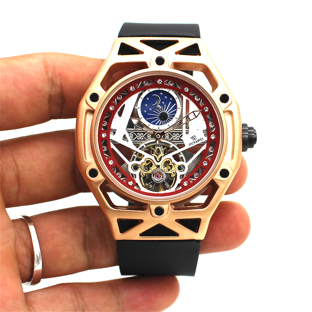 Luxury Automatic Mechanical Men Wristwatch Fashion Gold Waterproof Skeleton Tourbillon Self Winding Man Watch Relogio Masculin