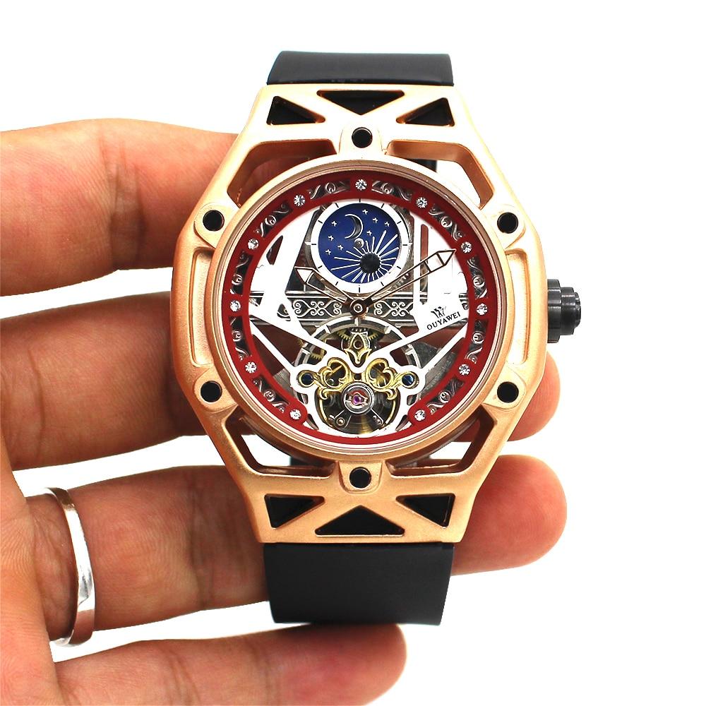 Luxury Automatic Mechanical Men Wristwatch Fashion Gold Waterproof Skeleton Tourbillon Self winding Man Watch Relogio Masculin