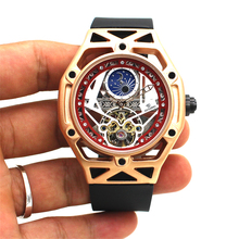 Luxury Automatic Mechanical Men Wristwatch Fashion Gold Waterproof Skeleton Tour