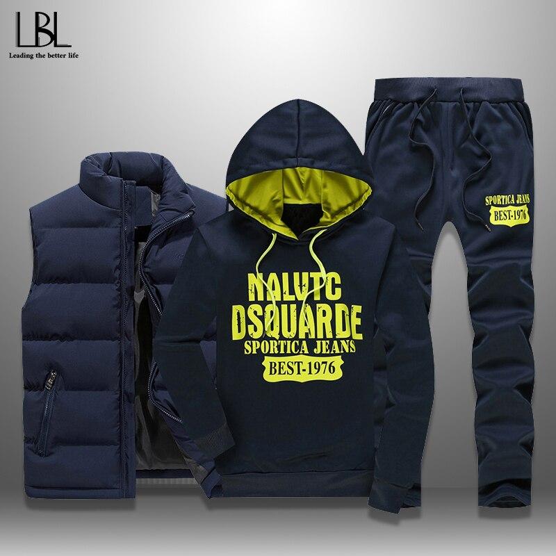 Men's Set Casual Men Tracksuits 3 Pieces Autumn Winter Sportswear Warm Vest+Hoodie+Sweatpants Letter Printed Sweatshirts S-5XL