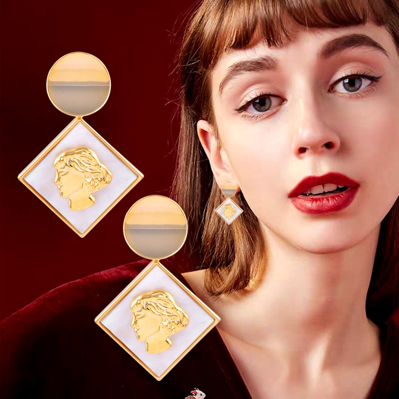 SINLEERY Design Girl Face Drop Earrings Yellow Gold Silver Color Round Square Shell Earrings For Women Fashion Jewelry ES246 SSB