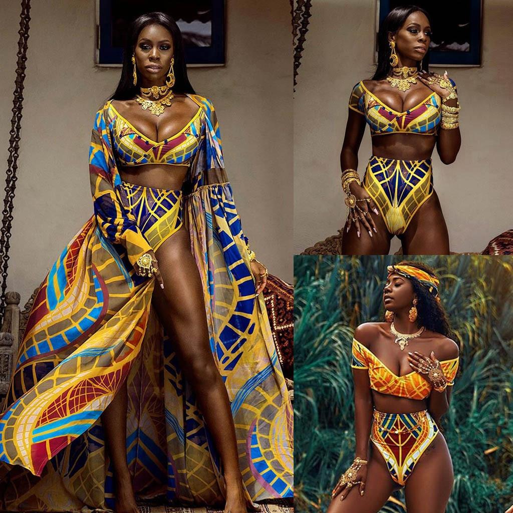 Sexy Bikinis 2020 Swimwear Women African Print Bikini Set Swimwear Push-up Padded Bra Swimsuit Beachwear Купальник Женский