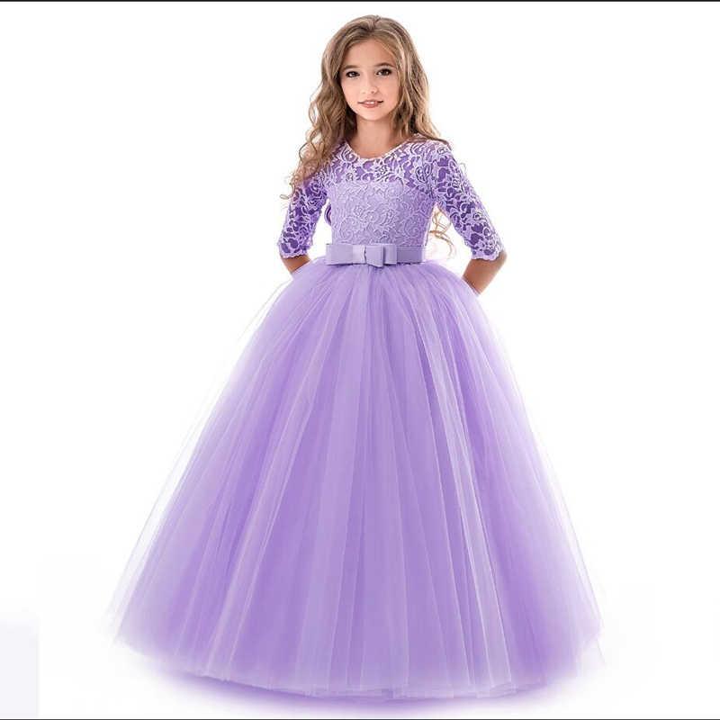 Новинка 2018 года; кружевное однотонное платье принцессы для девочек-подростков Детские платья с цветочной вышивкой для девочек; детская одежда для выпускного бала красное бальное платье