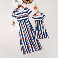 New Mommy and Me Family Matching Mother Daughter Dresses Clothes Striped Mom Dress Kids Child Outfits Mum Sister Baby Girl keelorn girl dress 2018 new style family matching outfits mother and daughter fall full black striped dress free shipping