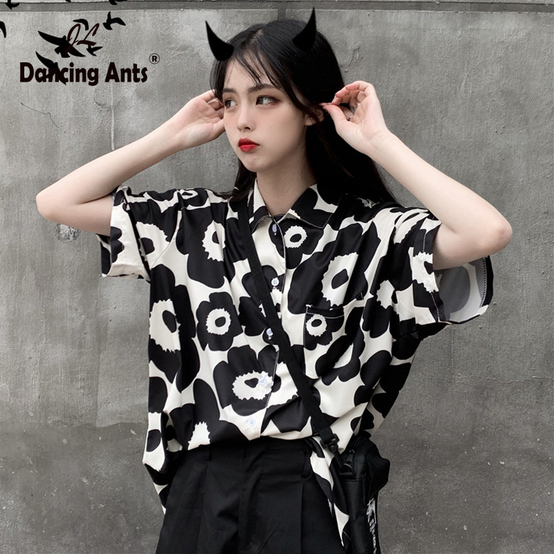 Women Skinny Shirt Short Sleeve Turn-down Collar Broken Flower Print Shirts Personality Fashion Blouse Hot Sale