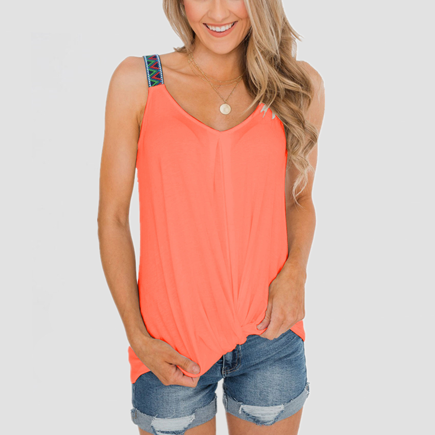 V-neck Tank Top 2020 Summer Women Sleeveless Tee Casual Female Vest Fashion Tie Slim Fit Tanks Sexy Soft Tee Women Clothes