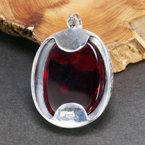 Image 5 - Real Pure 925 Sterling Silver Pendant For Women With Garnet Gemstones Antique Retro Spiritual Meditation Jewelry