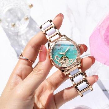 2021 New Designer Mechanical Watches Women Luxury Top Brand Ceramic Stainless Steel Diamond Music Ladies Automatic Wristwatches 3