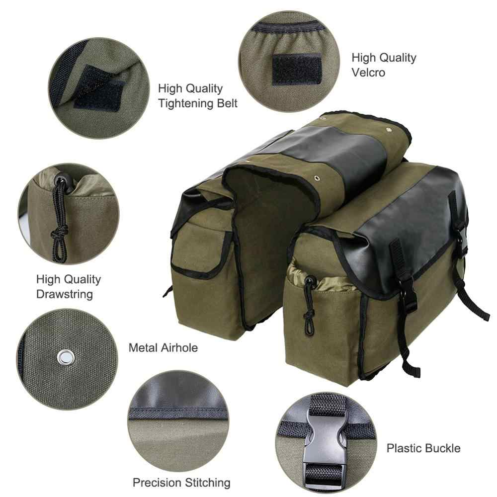 Upgrade Touring Motorbike Saddle Bag Motorcycle Canvas Waterproof Panniers Box Side Tools Bag Pouch for Motorbike Color Name : Black