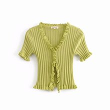 DJF25 6905 moda agarico e coltiva la sua camicia di moralità primavera crop top футболка женская t shirt