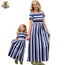 Mother Daughter Dress Children Clothing Fashion Mom And Kids family Look Stripe Family Matching Outfits Baby Girls Clothes Dress