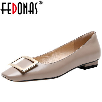 FEDONAS  Women Genuine Leather Pumps Metal Decoration Thick Heels Pumps Spring Summer Basic Party Shoes Square Toe Shoes Woman