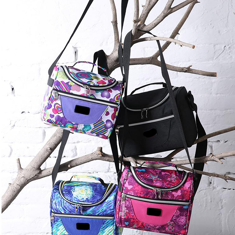 Colorful Kid Insulated Lunch Bag Diagonal Cooler Bags Organizers Outdoor Camping Picnic Box Tote Food Storage Bento Pack