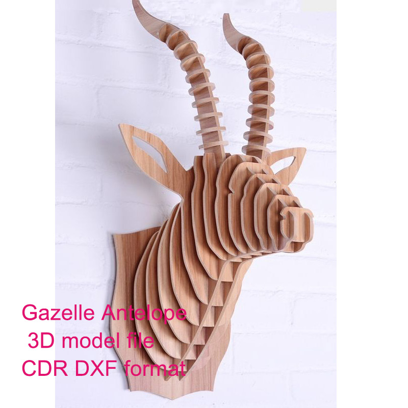 Gazelle Antelope Head 3D Model CNC Laser Cutting File CDR DXF Format File Vector Design Drawing