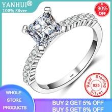 Yanhui prata 925 jóias moda princesa corte 1.0ct zircão branco prata anéis de noivado presente anéis de casamento festa xr062