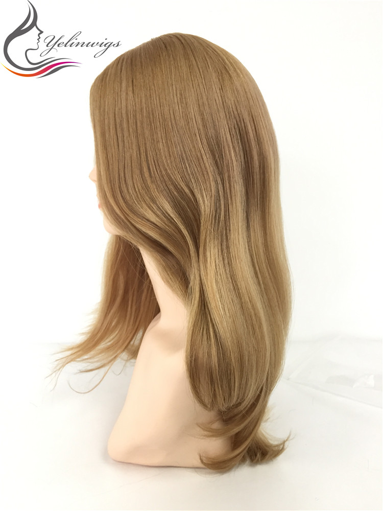 Stock Natural Wavy 14 Inch Large Layer 12/14 Ombre Color European Hair Wig With Body