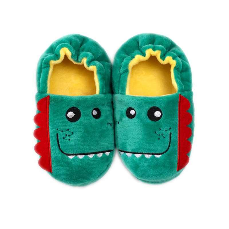 Kids Autumn Winter Slippers Cartoon Dinosaur Shoes Children Home Cotton Shoes Keep Warm Plush Ball Thickening Slippers For Baby