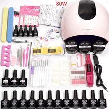 36 W/48 W/80 W LED Lampu UV Kuku Pilih 12 Warna Gel Kuku Pernis Akrilik kit Electric Kuku Bor Mesin untuk Manicure Set(China)
