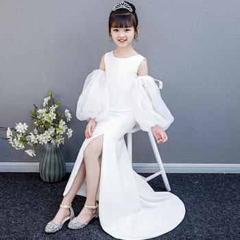 White Tailing Mermaid Princess Dress Puff Sleeve Children Evening Dress For Girls Sexy Split Trumpet Wedding Party Gowns L66