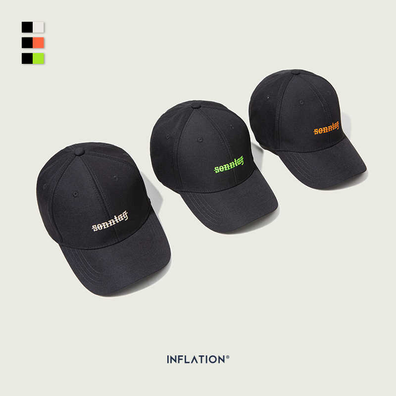 INFLATION 2019 Streetwear Baseball Cap Casual Unisex Letter Embroidery Cotton Adjustable Baseball Couple Cap Hip Hop166CI2019