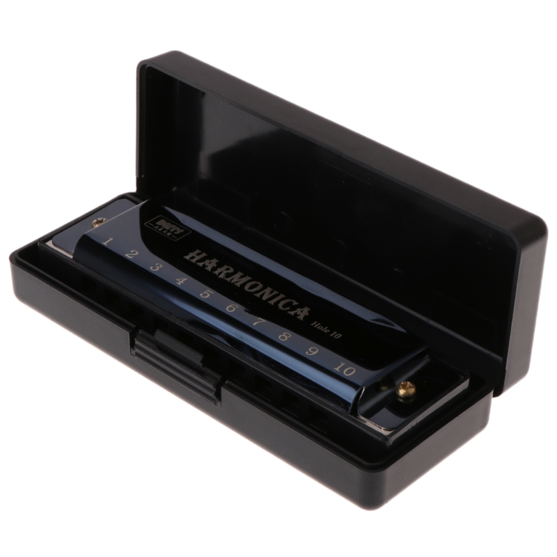 10 Holes Key Of C Blues Harmonica Musical Instrument Educational Toy With Case