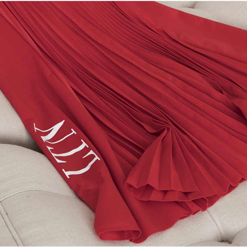 אביב ובסתיו אופנה מזדמן נשים של חצאית 2020 חדש גבוהה מותן קפלים חצאית אלסטי מותניים מכתב נשים של חצאית BF57